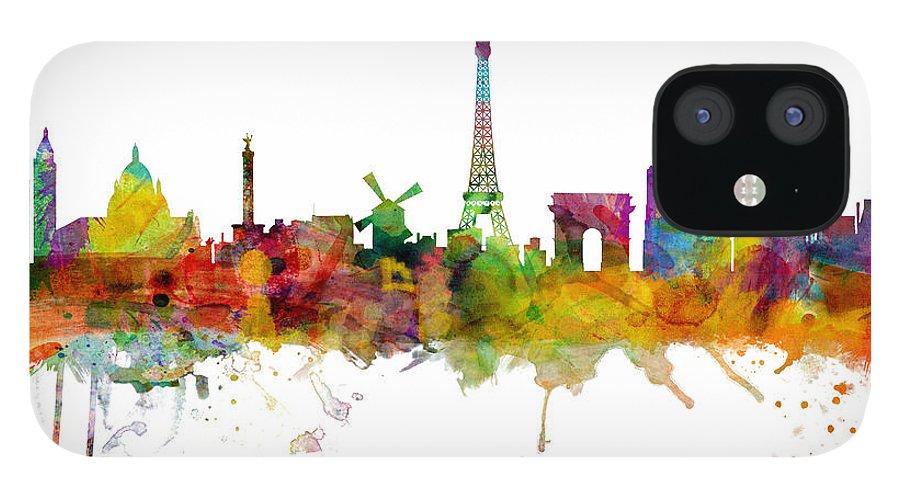 Paris iPhone 12 Case featuring the digital art Paris France Skyline by Michael Tompsett