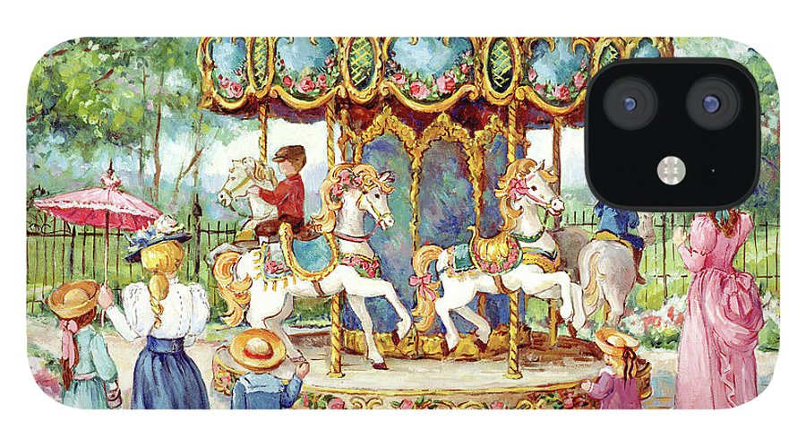 Magical Horses iPhone 12 Case featuring the painting 190 Magical Horses by Barbara Mock