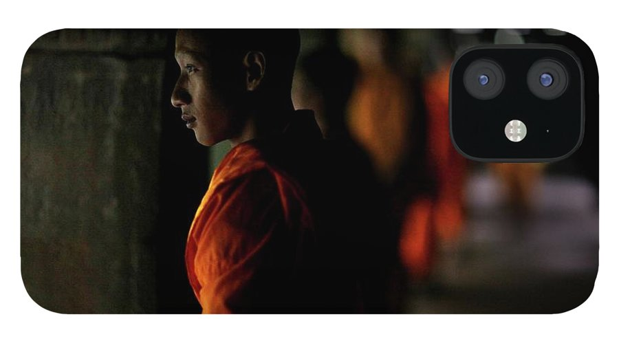 People IPhone 12 Case featuring the photograph Buddhist Monks At Angkor Wat Temple by Timothy Allen