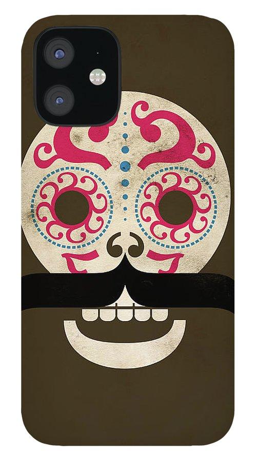 Black Color IPhone 12 Case featuring the digital art Calaca by Marco Recuero