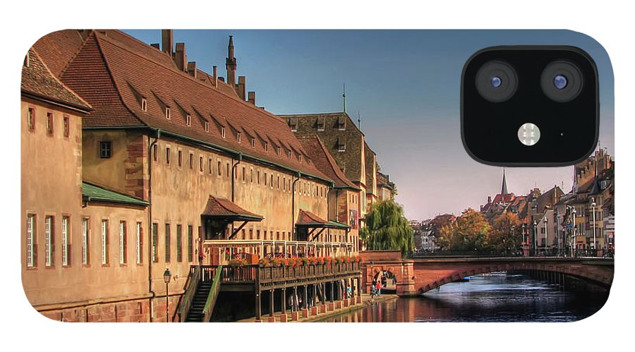 Clear Sky IPhone 12 Case featuring the photograph Strasbourg River by Michael Kitromilides
