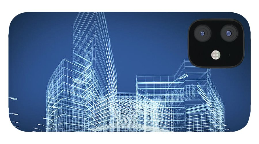 Three Dimensional iPhone 12 Case featuring the photograph 3d Architecture Abstract by Nadla