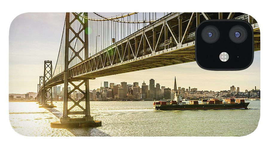 Scenics IPhone 12 Case featuring the photograph Bay Bridge And Skyline Of San Francisco by Chinaface