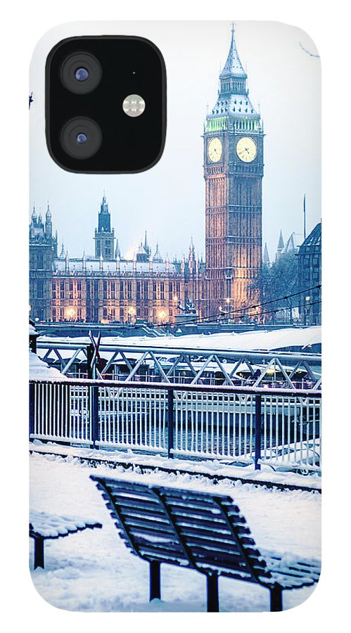 Clock Tower IPhone 12 Case featuring the photograph Houses Of Parliament In The Snow by Doug Armand