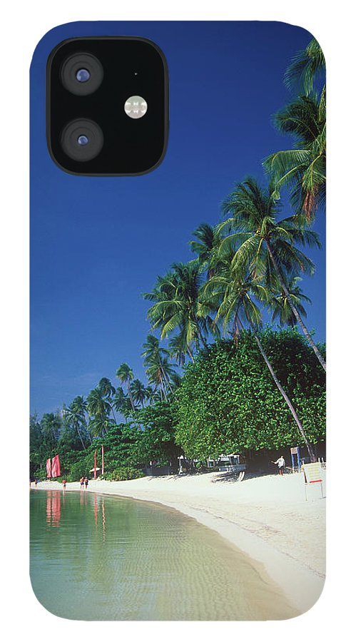 Water's Edge IPhone 12 Case featuring the photograph Palm Trees At Sandy Chaweng Beach by Otto Stadler