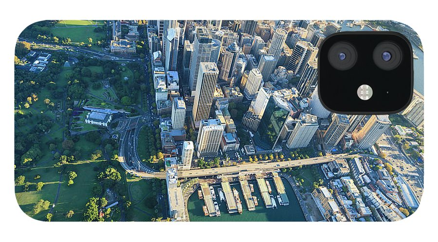 Shadow IPhone 12 Case featuring the photograph Sydney Downtown - Aerial View by Btrenkel