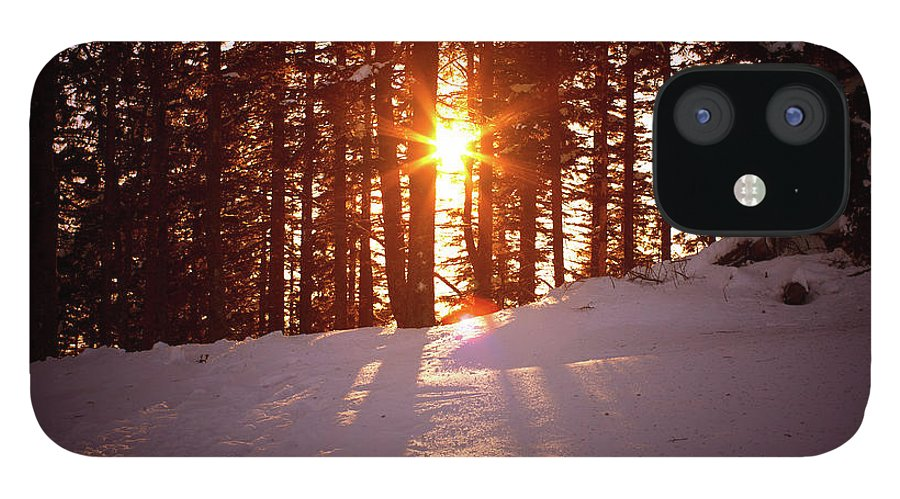 Scenics IPhone 12 Case featuring the photograph Winter Sunset by Borchee