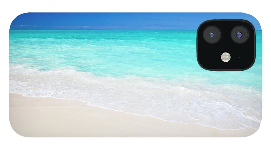 Water's Edge IPhone 12 Case featuring the photograph Clean White Caribbean Beach With Blue by Michaelutech