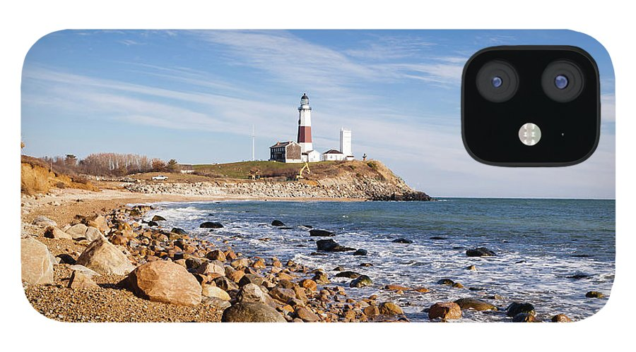 Headland IPhone 12 Case featuring the photograph Lighthouse At Montauk Point, Long by Alex Potemkin