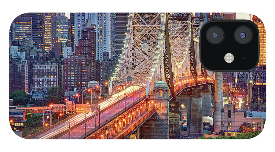 Architectural Column IPhone 12 Case featuring the photograph 59th Street Bridge by Tony Shi Photography