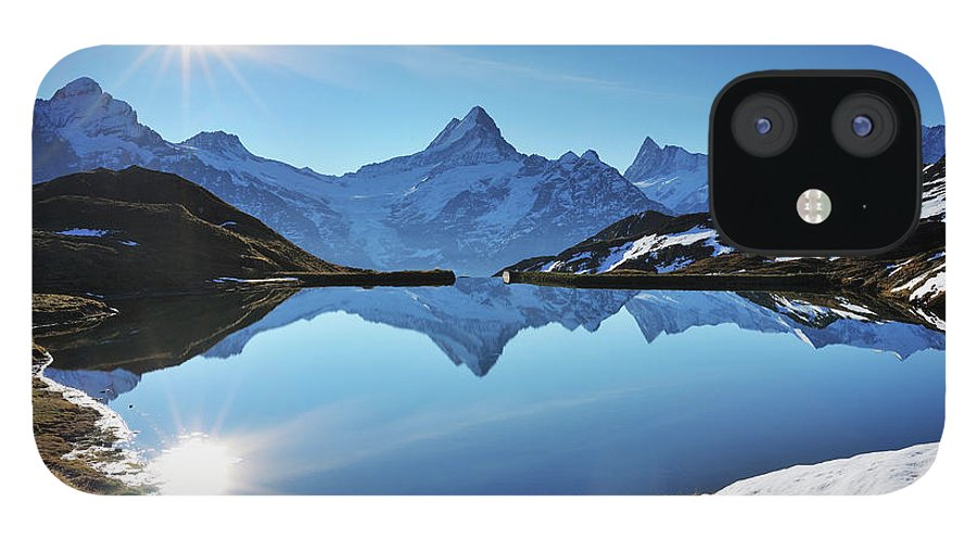 Scenics IPhone 12 Case featuring the photograph Lake Bachalpsee by Raimund Linke