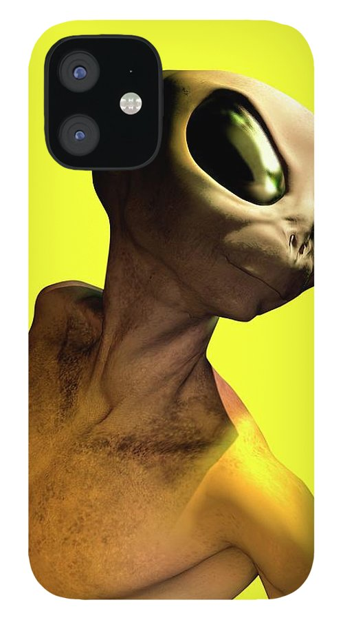 Looking Over Shoulder IPhone 12 Case featuring the digital art Alien, Artwork by Victor Habbick Visions