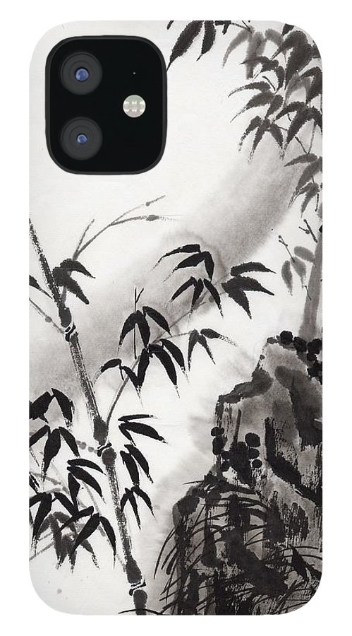 Scenics IPhone 12 Case featuring the digital art A Bird And Bamboo Leaves, Ink Painting by Daj