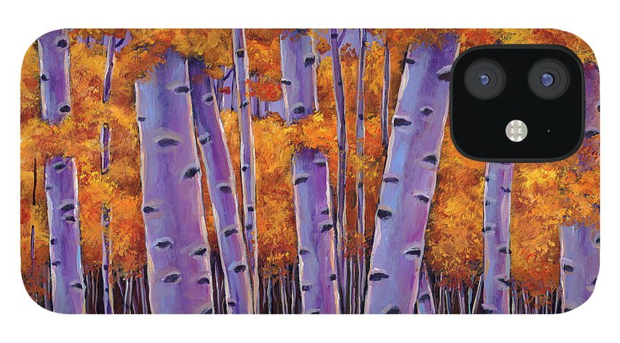 Aspen Trees iPhone 12 Case featuring the painting A Chance Encounter by Johnathan Harris