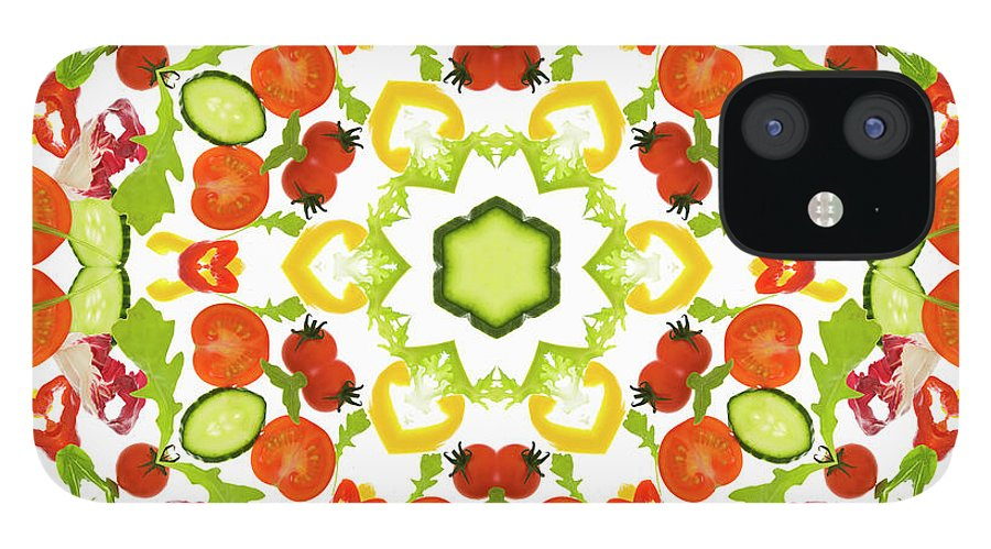 White Background IPhone 12 Case featuring the photograph A Kaleidoscope Image Of Salad Vegetables by Andrew Bret Wallis