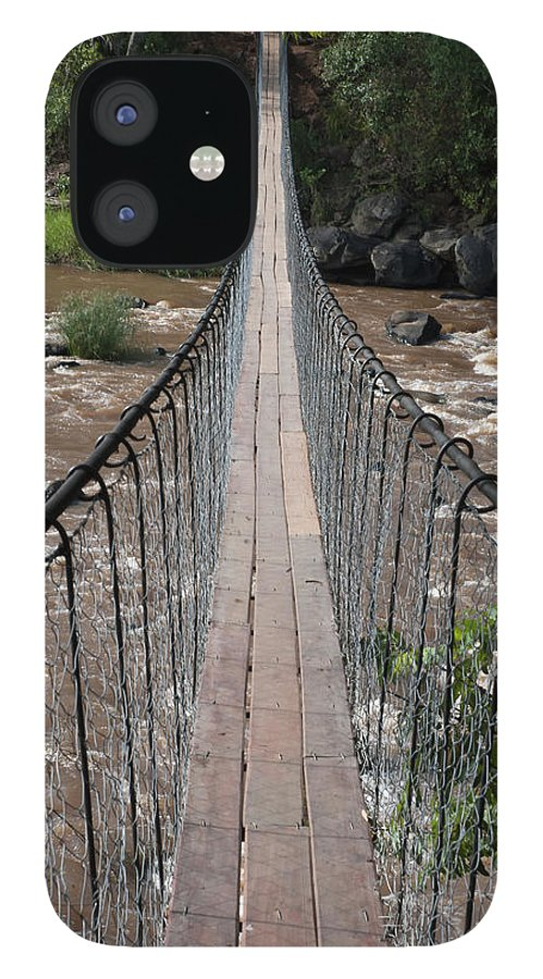Long IPhone 12 Case featuring the photograph A Long Suspension Bridge Over A River by Diane Levit / Design Pics