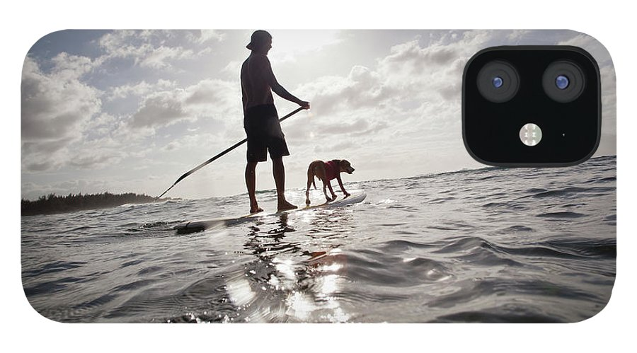 Pets IPhone 12 Case featuring the photograph A Man And His Dog On A Stand Up Paddle by Noel Hendrickson