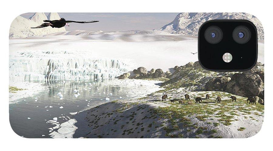Prehistoric Era IPhone 12 Case featuring the digital art A Receding Glacial Scene Circa 18,000 by Arthur Dorety/stocktrek Images