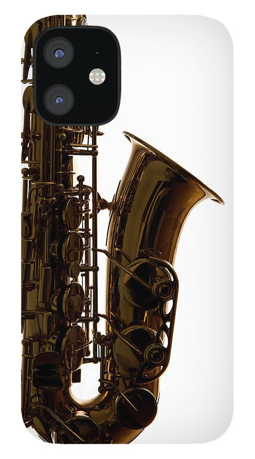 White Background IPhone 12 Case featuring the photograph A Saxophone, Close-up, Studio Shot by Halfdark