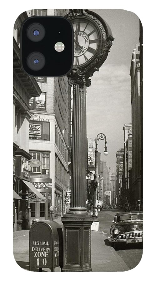 Public Mailbox IPhone 12 Case featuring the photograph A Street Clock On Fifth Ave., Nyc by George Marks