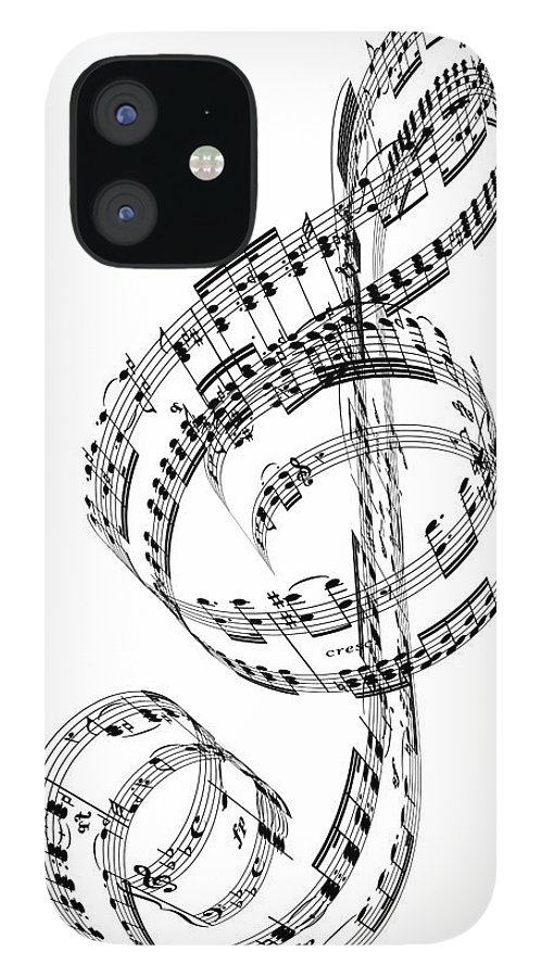 Sheet Music IPhone 12 Case featuring the digital art A Treble Clef Made From Beethovens by Ian Mckinnell