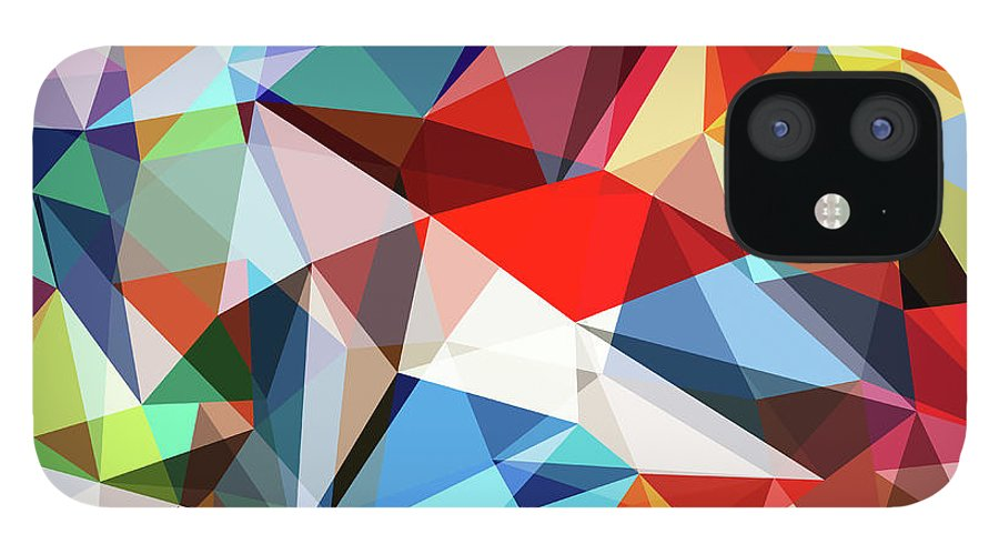 Art iPhone 12 Case featuring the digital art Abstract Colorful Geometrical Background by Natrot