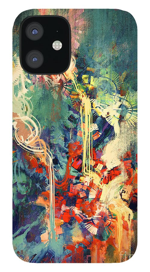 Concept IPhone 12 Case featuring the digital art Abstract Colorful Paintingmelted by Tithi Luadthong