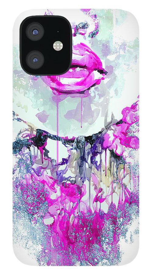 Fancy IPhone 12 Case featuring the digital art Abstract Print With Female Face by Alisa Franz