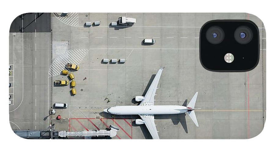 Passenger Boarding Bridge IPhone 12 Case featuring the photograph Aerial View Of Airplane by Fstop Images - Stephan Zirwes