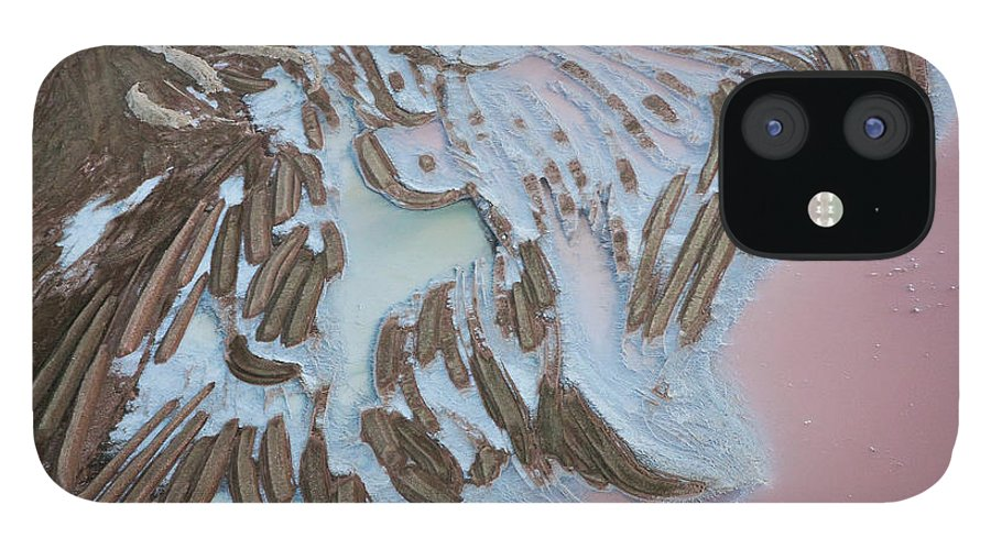 Extreme Terrain iPhone 12 Case featuring the photograph Aerial View Of Salt Works Namibia by Peter Adams