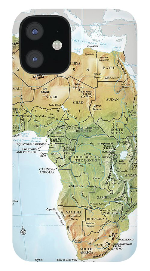 Topography IPhone 12 Case featuring the digital art Africa Continent Map With Relief by Globe Turner, Llc