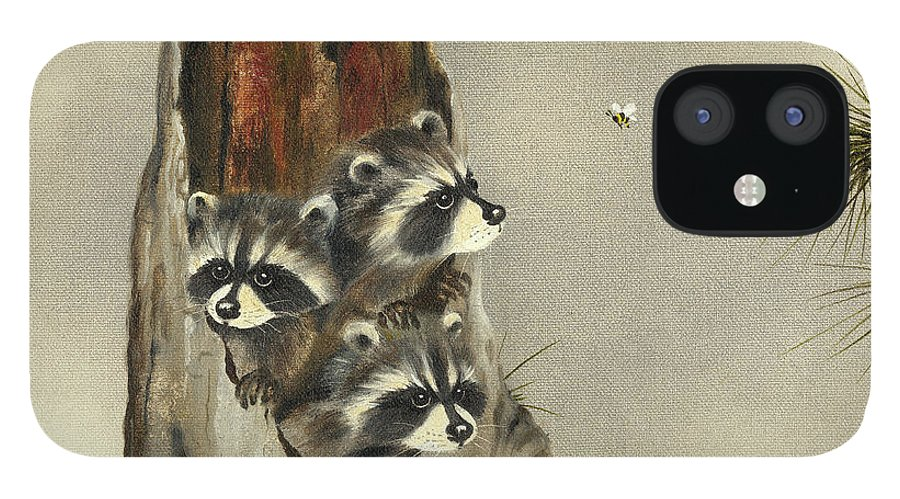 Three Raccoons With Their Heads Popping Out Of A Hollow Tree Stump iPhone 12 Case featuring the painting Ain't Misbehavin'... Yet by Peggy Harris