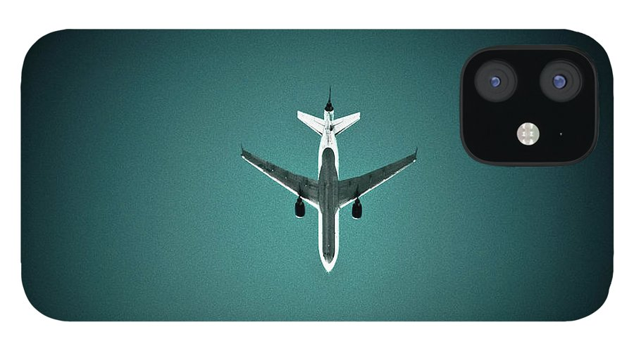 Outdoors IPhone 12 Case featuring the photograph Airplane Silhouette by Miikka S Luotio