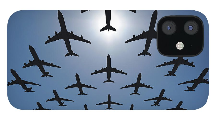 Expertise IPhone 12 Case featuring the photograph Airplane Silhouettes Fly In V Formation by Georgo