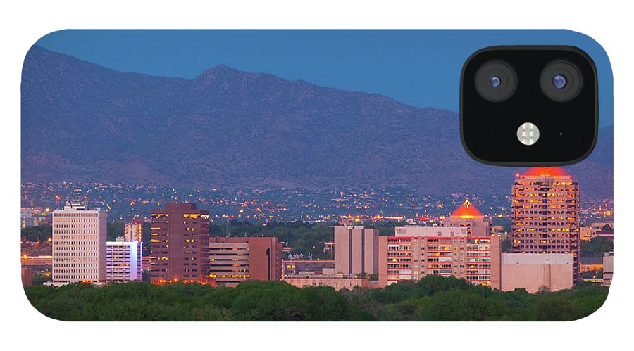 Downtown District IPhone 12 Case featuring the photograph Albuquerque Skyline At Dusk by Davel5957