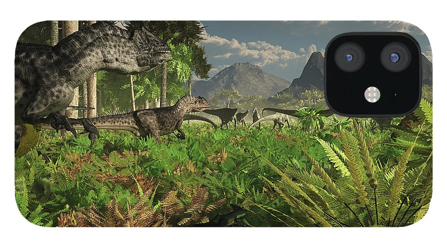 Toughness IPhone 12 Case featuring the digital art Allosaurus And Diplodocus Dinosaurs by Arthur Dorety/stocktrek Images