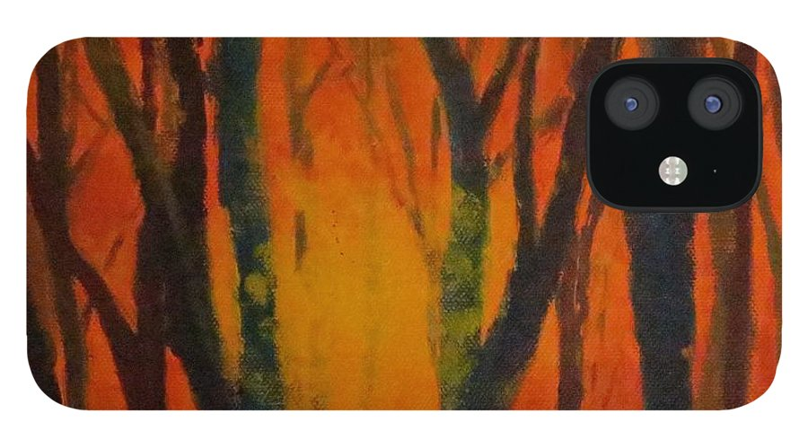 Amber iPhone 12 Case featuring the painting Amber Tree by Caroline Cunningham