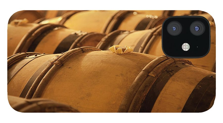 Fermenting IPhone 12 Case featuring the photograph An Old Wine Cellar Full Of Barrels by Brasil2