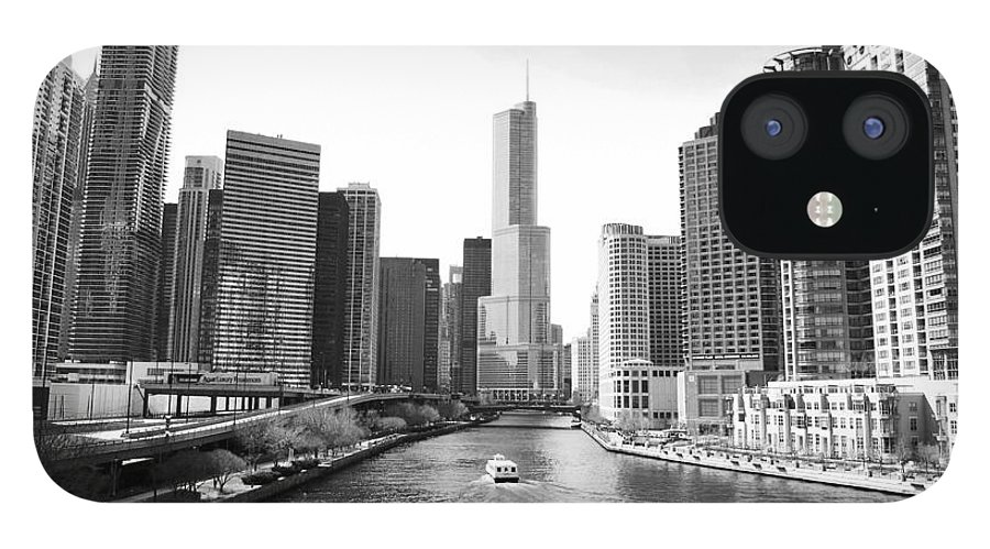 Chicago River IPhone 12 Case featuring the photograph An Unknown Skyline Along The Chicago by Ricardo Montiel