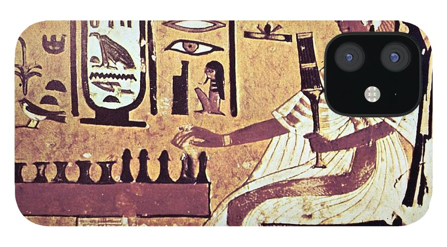 Human Representation iPhone 12 Case featuring the photograph Ancient Egyptian Queen Nefetari Playing by Photos.com