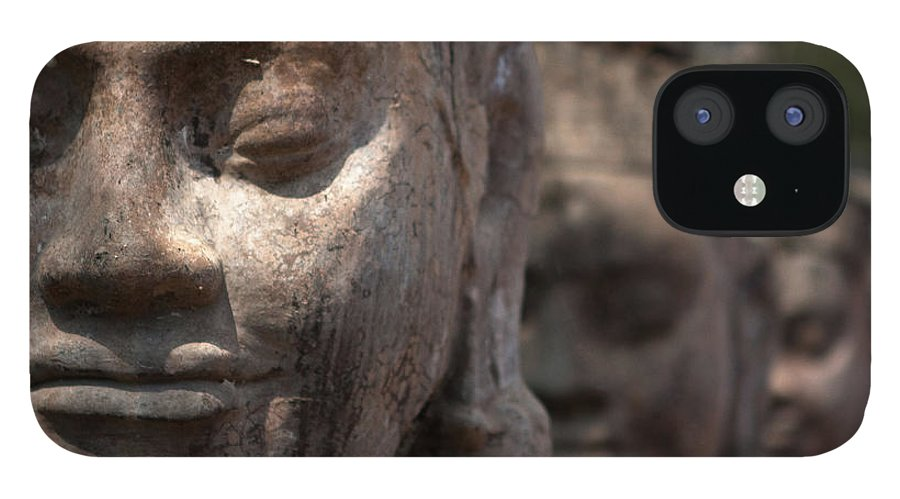 Art IPhone 12 Case featuring the photograph Angkor Warriors by Romulo Rejon