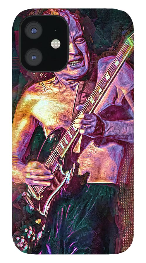 Angus Young IPhone 12 Case featuring the mixed media Angus Young by Mal Bray
