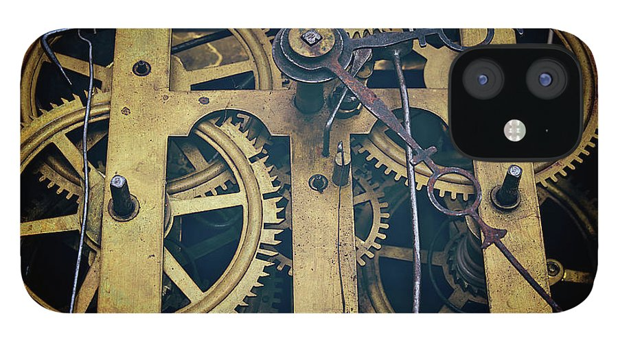 Gear IPhone 12 Case featuring the photograph Antique Clock Gears, Cog And Parts by Melissa Ross
