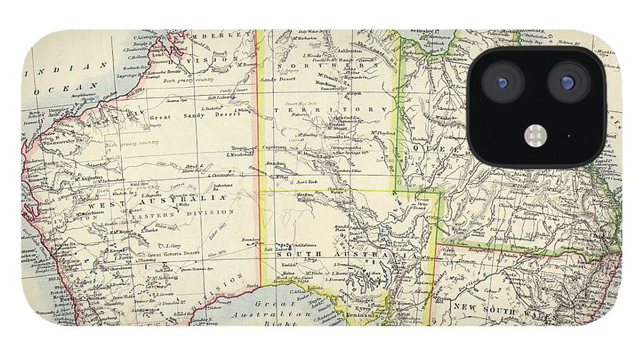 19th Century Style IPhone 12 Case featuring the photograph Antique Map Of Australia by Nicholas Free