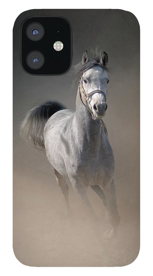Horse IPhone 12 Case featuring the photograph Arabian Horse Running Through Dust by Christiana Stawski