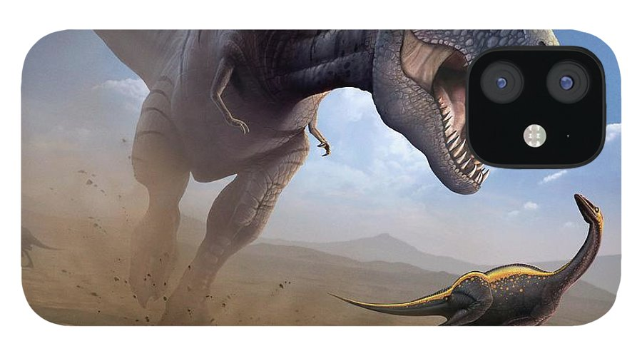 White Background IPhone 12 Case featuring the digital art Artwork Of A Tyrannosaurus Rex Hunting by Science Photo Library - Mark Garlick