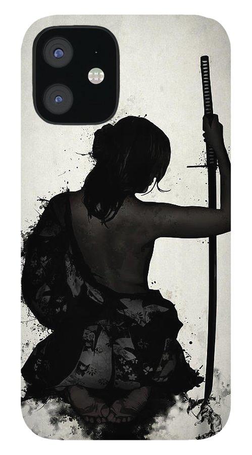 Female iPhone 12 Case featuring the digital art Female Samurai - Onna Bugeisha by Nicklas Gustafsson