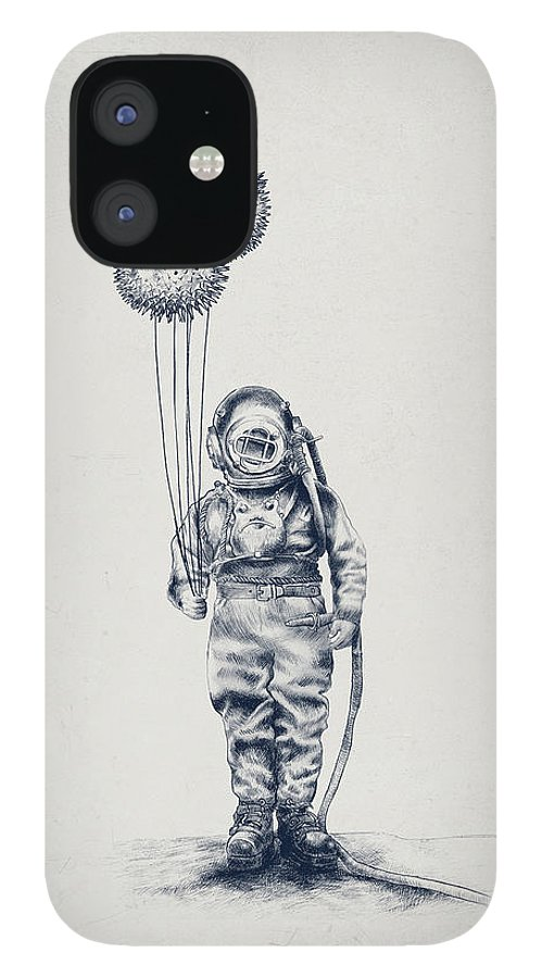 Pen And Ink IPhone 12 Case featuring the drawing Balloon Fish option by Eric Fan