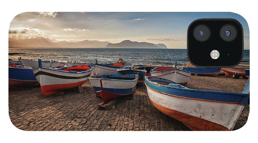 Sicily IPhone 12 Case featuring the photograph Aspra Boatyard by Fabio Montalto