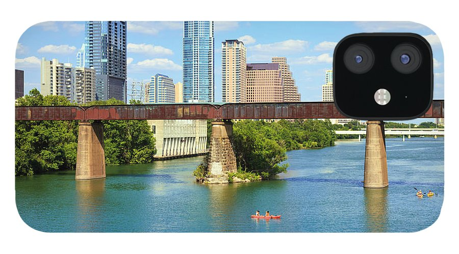 Scenics IPhone 12 Case featuring the photograph Austin Texas Skyline, Colorado River by Dszc